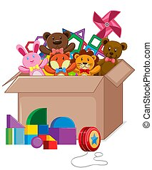 Cardboard box full of toys on white background