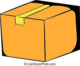 Cardboard box icon cartoon