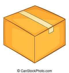 Cardboard box icon, cartoon style