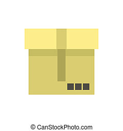 Cardboard box icon, flat style