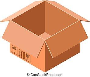 Cardboard box icon, isometric style