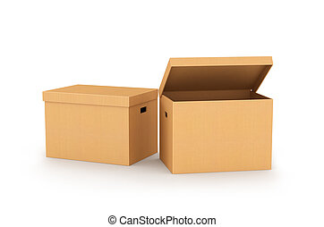 cardboard box isolated on a white background. 3d illustration