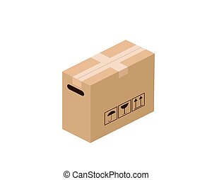 Cardboard box isolated on white background. Vector illustration