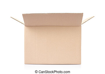 Cardboard box isolated on white, clipping path included