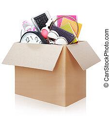 Cardboard box. moving day concept - Cardboard box full of ...