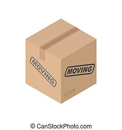 Cardboard box Moving isolated. pasteboard case on white...