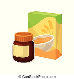 Cardboard box of corn flakes and jar of chocolate peanut butter. Tasty and healthy breakfast. Flat vector icons of supermarket products