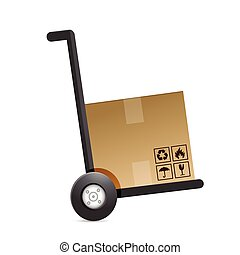 cardboard box on a dolly. illustration
