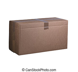 Cardboard box on a white background. Box packed and sealed with tape. Container for transportation of goods.
