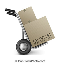 cardboard box with empty space on a sack truck or trolley image with copy space concept for transportation relocation or moving package