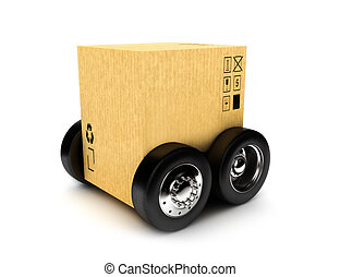 Cardboard box on wheels, moving or package transporting...