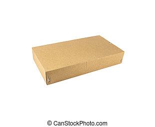Cardboard box on white background