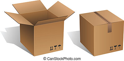 Cardboard box - Opened and closed vector cardboard box...