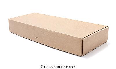Cardboard box opened empty - Cardboard box isolated on white...