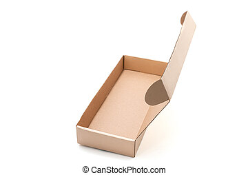 Cardboard box opened empty isolated on white background. The...