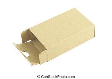 Cardboard box opened on white background.