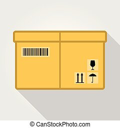 Cardboard box pack with handling packing icons. Flat design. Vector illustration