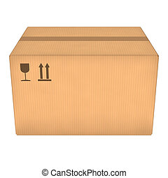 Cardboard box - Closed cardboard box isolated on white...