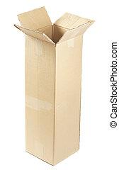 Cardboard Box - open empty cardboard box isolated on white