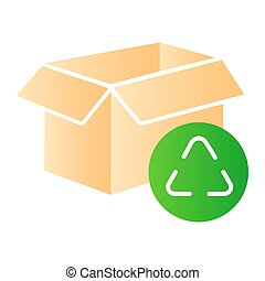 Cardboard box recycle flat icon. Paper box color icons in trendy flat style. Package recycling gradient style design, designed for web and app. Eps 10.
