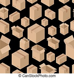 Cardboard box seamless pattern. Paper packaging background