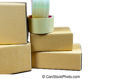 Cardboard box stack with copy space on isolated white