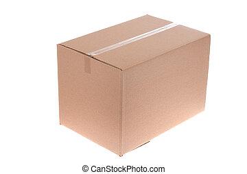 cardboard box, photo on the white background