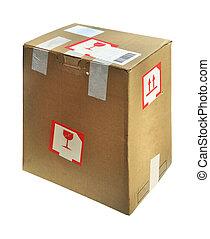 Cardboard box - Open cardboard box isolated on a white...