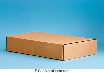 Cardboard Box - Cardboard box on blue background