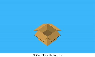 cardboard box storage arrow upload data animation hd