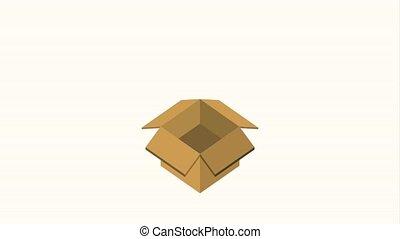 cardboard box storage coins money cash animation hd