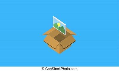 cardboard box storage photo checkmark animation hd
