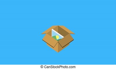 cardboard box storage photo social media animation hd