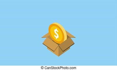 cardboard box storage puts coins dollar money animation hd