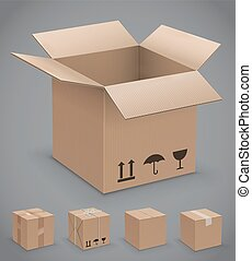 Cardboard box, vector icons