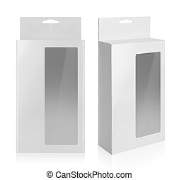 cardboard box with a transparent plastic window isolated...
