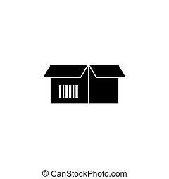 Cardboard Box with Bar Code Flat Vector Icon