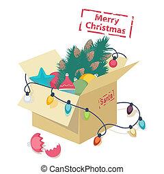 Cardboard box with Christmas decorations - Cardboard box...