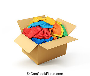 Cardboard box with clothes isolated on white background. Donation.