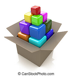 Cardboard box with colored cubes
