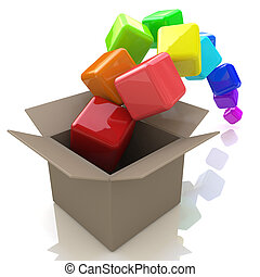 Cardboard Box with Colorful Flying Cubes