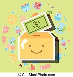cardboard box with dollar kawaii charity
