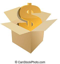 Cardboard box with dollar sign