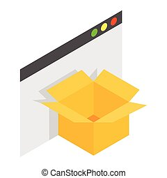 Cardboard box with file isometric 3d icon