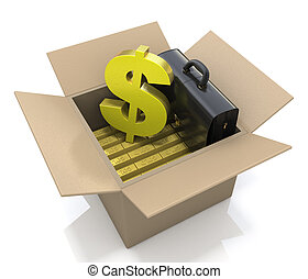 cardboard box with gold bars and dollar sign