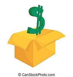 Cardboard box with green dollar sign icon