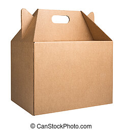 Cardboard box with handle isolated on white background