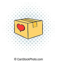 Cardboard box with heart icon, comics style