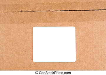 Cardboard box with label