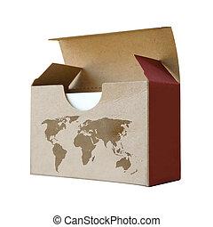 Cardboard box with map world